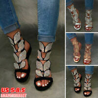 Womens Rhinestone Butterfly Ankle Strap Sandals Summer Open Toe Gladiator Shoes