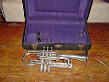 VINTAGE J W YORK AND SONS PERFECTONE CORNET 1917 GOLD ACCENTS ON BELL LOW PITCH