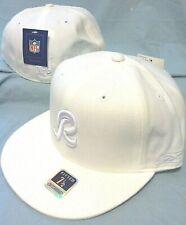 WASHINGTON REDSKINS WHITEOUT FLAT BRIM FITTED R LOGO NFL CAP BY REEBOK