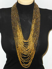 bronze golden beads multi strand statement necklace with earrings Kenya African