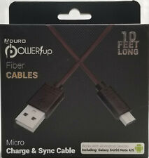 Aduro Power Up Fiber Cable 10 Feet Micro Charge & Sync Cable- Black #UMIC05