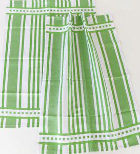 2x Tea Towel Kracht Kitchen Cloths Jacquard half-Linen Classic Striped Green