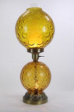 Gone With The Wind Style Electric Table Lamp Amber Coated Crinkle Glass Globes