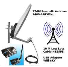 WiFi Outdoor Parabolic 27dBi Antenna 10M cable WIFISKY Signal Booster USB 3W