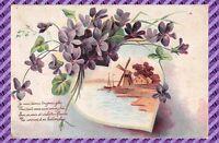 Carte Postale - Fantaisie - Gaufrée -  Fleur et moulin a vent