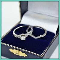 0.50Ct Round Cut Diamond Bridal Set Engagement Wedding Band Ring 14k White Gold