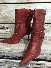 Luna Rosa by PAZZO 8M Leather Studs Boots Stiletto Heel Red