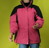 LL Bean Womens Pink Black Jacket Full Zipped Insulated Coat Size S