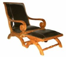 Waxed Teak And Leather Bahama Lazy Chair With Ottoman by Chic Teak