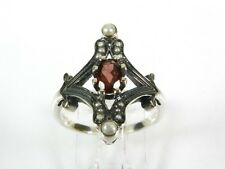 .50ct Natural Garnet Pearl Victorian Deco Sterling Silver Filigree Ring 1001G