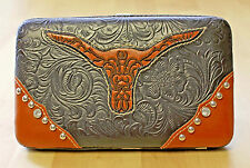 COUNTRY ROAD Western Longhorn Rhinestone Studded Clutch Wallet University Texas