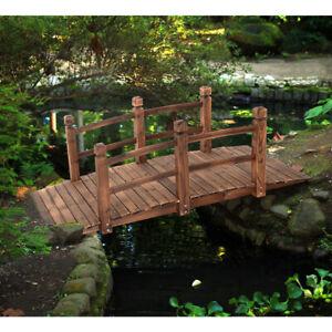 Holzbrücke Teichbrücke Gartenbrücke Brücke Zierbrücke Dekobrücke mit Geländer