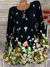 Leins Tunika Bluse Kleid Shirt Lagenlook Top  A-Form Longshirt Bunt  M 38 40