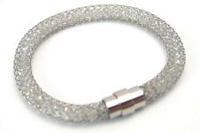 Surgical Steel Mesh Bangle Bracelet Clear Faceted Beads Magnetic Clasp 8 inches