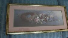 """Vintage -  Framed Print - FLORAL WITH BIRD'S NEST AND BLUE EGGS  - 14"""" X 30""""."""