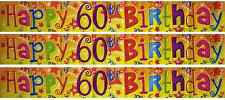 Fun House HAPPY 60th BIRTHDAY 60 Today Plastic Banner Party Decoration 12 Foot