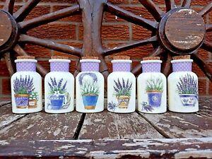 Shabby chic bathroom jars / sweet jars handmade, floral lavender