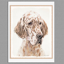 6 English Setter Dog Blank Art Note Greeting Cards