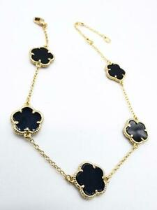 EXQUISITE 18kt Gold Plated 5 PC Black Onyx Clover Thin Chain Links Bracelet