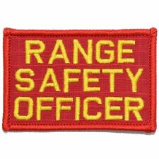 RANGE SAFETY OFFICER EMB PATCH 4X11 and 2.75 x 4.5 hook  on back  red//yellow