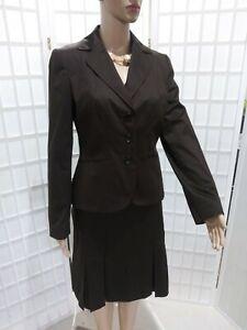 $309 Women's NEW Ann Taylor Sz 4/6 Dark Brown Pleated Business Skirt Suit