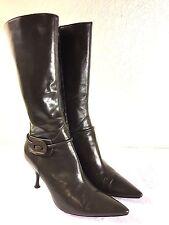 L'AUTRE CHOSE Dark Green Leather zipper Mid Calf Boots Sz 36.5