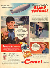 "1943 WW2 era AD CAMEL CIGARETTES BLIMP PATROL ! ""T'-Zone   052115"