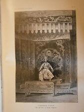 Gravure 1900 Indochine L'empereur d'Annam sur son trône en costume d'apparat
