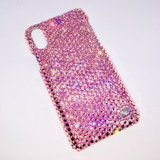 For NEW iPhone Xs Max BABY PINK Lt Rose Bling Back Case with SWAROVSKI Crystals