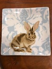 """Williams Sonoma Style Blue Damask Easter Bunny Plates Set of Four """"NWT"""""""