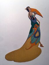 Vintage Bridge Game Tally Place Card -- Art Deco Lady in Long Dress w/ Hand Fan