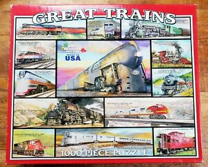 """1000 Piece Great Trains,White Mountain Puzzles Thick Pieces #595S 24""""x30"""""""