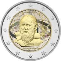 2 Euro Gedenkmünze Italien 2014 coloriert mit Farbe /  Farbmünze Galileo Galilei