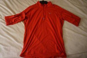 Mens Nike Dri-fit Red Long Sleeve Athletic Half Zip Top Size L