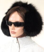 Fur Earmuffs Blue Fox Full fuchs Head Cap Black