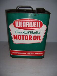 Vintage Wearwell Pure Full Bodied Motor Oil 2 Gallon Can Gas Station Advertising