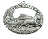 DOWNS COLLECTORS 1998 First Edition ORNAMENT Seasons Greetings Sleigh Pewter
