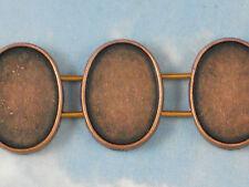 10 Bezels 2 Strand Oval Bezel Trays Settings Beads Sliders Copper Tone #P965