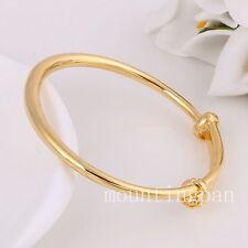 2PCS Lovely Bangle For Kids 24k Solid Yellow Gold Filled 45mm Bracelet Gift