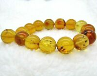 DOMINICAN AMBER Bracelet Beads Natural Gem Stone AUTHENTIC 15.69mm (30.1 G) D335
