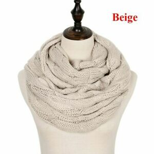 Women Scarf Knitted Winter Infinity Scarves Neck Circle Cable Warm Soft Ring Fem