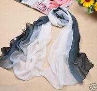 Fashion Women's Black&White Gradient Chiffon Soft Long Beach Shawl Wrap Scarf