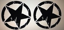 2 JEEP WRANGLER Oscar Mike US ARMY Willys STAR Pick Your Color STICKERS Decals