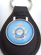 AUSTRALIAN FEDERAL POLICE LEATHER KEYFOB KEYRING GIFT
