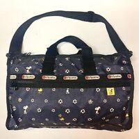 LeSportsac x Peanuts Medium Weekender Travel Bag Rare Snoopy Woodstock Daisy EUC
