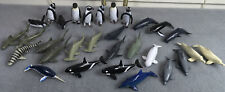 Lot of 30 Sea World Toy Animals Penguins Dolphins Shark Whales Play Vision