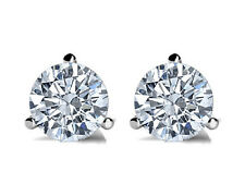 0.50 Carat G VS2 Round Diamond Solitaire Stud Earring 14K White Gold All Natural