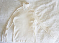 Pre-owned Cable & Guage Ribbed Turtleneck Ivory (M) Medium
