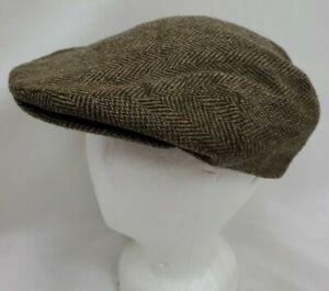 Vtg Scala Dorfman Pacific Brown Wool Tweed Cabbie Cap Newsboy Driving Hat Medium