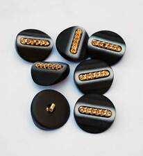 Lote de 7 botones vintage negros y dorados